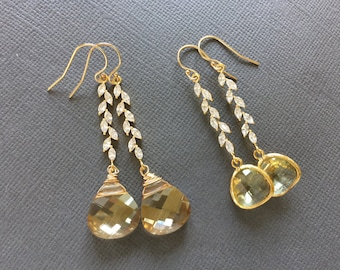 Champagne Crystal Earrings, Swarovski Crystal, Rhinestone Leaf Earrings, Bridesmaid jewelry, rhinestone, leaf, leaves, citron earrings
