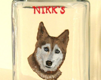 Siberian Husky, Red Husky, Dog Treat Jar, Biscuit Canister, Personalized Pet, Custom Jar, Painted Glass, Storage Container, Dog Lover