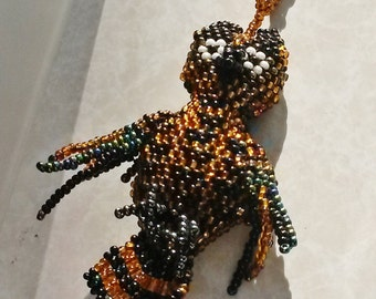 Whimsical Beaded Great Horned OWL Pendant Necklace charm Rare Unique Bird Spirit Animal Totem Cool Black Yellow Gold Avian Jewelry gift