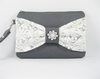 SUPER SALE - Gray with White Lace Bow Clutch - Bridal Clutches, Bridesmaid Wristlet, Wedding Gift - Made To Order