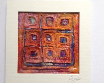 Abstract felt art, textile art ready to frame