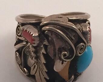 Vintage Sterling Bavajo Mans Ring sz 11 3/4