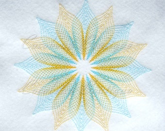 Flower 1800 Quilt Block-Embroidery-Instant download