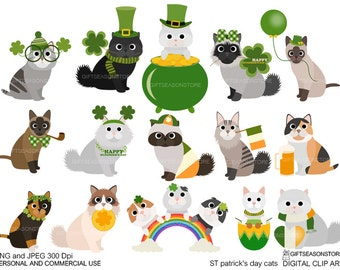 St.patrick's day cats Digital clip art for Personal and Commercial use - INSTANT DOWNLOAD