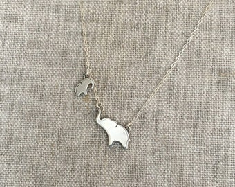 Silver Elephant Necklace - Big and Little - Mom and Baby