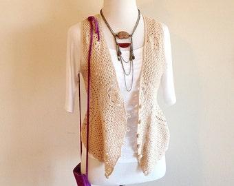 Vintage Crochet Boho Hippie Vest Ladies Size Small to Medium