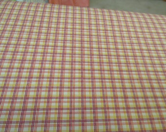 Quilting Weight Cotton Fabric by Denyse Schmidt for Free Spirit New Bedford Grid Plaid Sorbet 1 yard