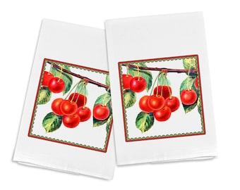 100% Egyptian Cotton Flour Sack Kitchen Dish Towel Cherries (one towel)