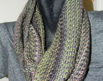 Soft Greens and Purples Infinity Scarf