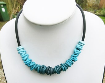 Petrol blue gradient wire beads necklace/ each bead a different colour/ ombre polymer clay on rubber base chain/ choose enclosure