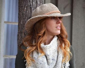 Wide Brim Hat / Cowboy Hat / Organic Hemp Hat with Stiff wire Brim / Vegan Accessories / Organic Accessories / Back to School Accessories