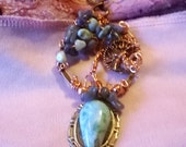 Larimar Cabochon Cameo and  Larimar and Tanzanite Tree of Life Pendant with Copper Hummingbird Totem Charms