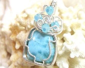 Larimar Pendant, Dolphin Stone Pendant, Larimar Opal Pendant 17x14.5 Wire Wrapped Solid Sterling Silver 935 Argentium Anti Tarnish wire