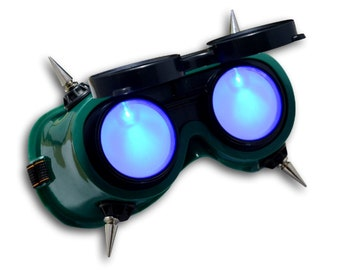 TrYptiX Spiked Cyber Goth Steampunk Futuristic Goggles Costume Overwatch Borderlands Cosplay Burning Man EDC Electric Forest Ultra Music