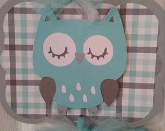 Owl Baby Boy Hospital Banner- Baby Boy Shower-Baby Boy Owl Banner