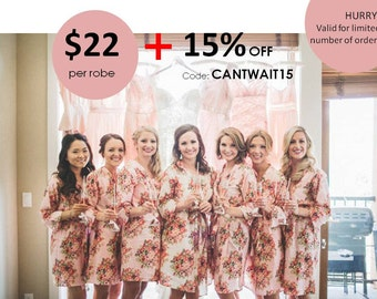 Bridesmaid Robes Set of 7 Kimono Crossover Robe Spa Wrap Perfect bridesmaids gift, getting ready robes, Wedding shower party favors