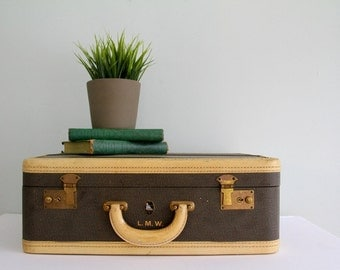 Vintage Striped Suitcase Luggage 1940's Winship Wedding Prop Shabby Chic Medium Size Green/Brown/Cream Color