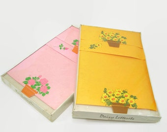 2 Vintage Boxes Postalette Writing Paper, Roses and Daisy Letterets, Fold A Note Stationary, Floral Note Paper