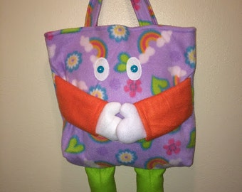 Fleece tote bag with butterflies, flowers and rainbows.  Ready for hugs!  May The Fleece Be With You!