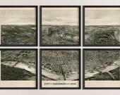 Old Cincinnati Map Art Print 1900 Antique Map Archival Reproduction - Bird's Eye View - Set of 6 Prints