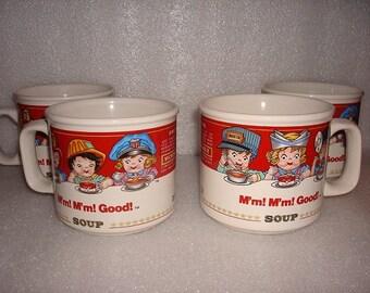 Set Of Four Ceramic Campbells Soup Mugs
