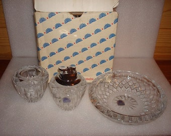 Set Of Three Princess House Lead Crystal, Ashtray, Table Lighter, And Candle Holder With Original Box
