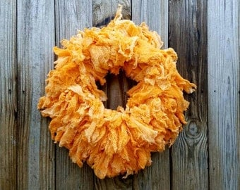 Halloween Wreath, Hand Dyed Orange Gauze Wreath, Ombre Wreath, Orange Ombre Wreath, Sale, Ready to Ship