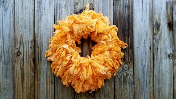 Halloween Wreath, Hand Dyed Orange Gauze Wreath, Ombre Wreath, Orange Ombre Wreath, Sale, Ready to Ship