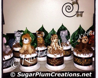 Safari / Jungle Stuffed Animal Diaper Cake Minis--Baby shower gifts or decorations-safari jungle animal theme party decorations