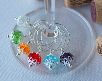 Swarovski Crystal Ornament Wine Charms Set of 6