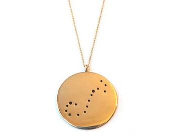 Bronze Constellation Necklace, Hand Stamped Constellation Necklace, Zodiac Necklace, Constellation Jewelry, Zodiac Jewelry, Star Sign
