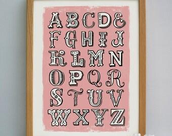 Hand Lettered Alphabet Print