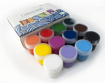 Acrylic Paint Gloss DECOLA Extra Fine Craft 12x20ml Jars RUSSIA Russian