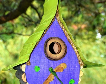 bird house, Birdhouse, Dragonfly, Tear Drop Hanging Birdhouse with Dragonfly
