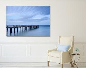 Large Art, Canvas Wall Art, Blue Beach Decor, Ocean Photography, Martha's Vineyard Fishing Pier Photo Nautical Coastal Decor Oversized Print