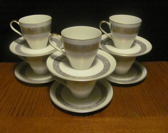 """Mikasa """"Silhouette"""" Gold Speckled Pattern Teacups Saucers"""
