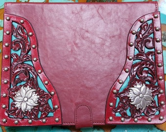 Red Leather iPad Cover with hand tooled filigreed corners and sterling plated conchos