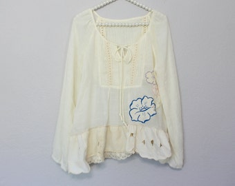 Boho Chic Upcycled Shabby Women's Shirt / French Country Clothing / Bohemian Peasant Clothes / Unique Romantic Top