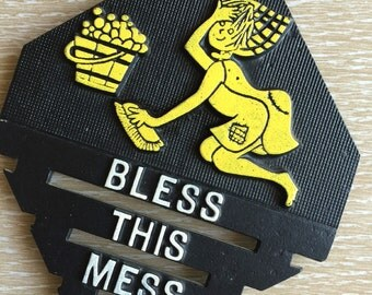 Cast Vintage Trivet ~ Bless This Mess
