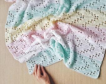 Baby Crochet Throw Toddler Blanket Afghan / The Hopscotch Blanket / Crochet Filet Baby Blanket