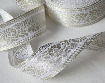Elegant white and gold sari border - TWO yards Indian sari trim in white and gold, wedding trim, bridal trim, paisley trim, boteh, 2 yds.