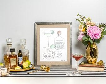 """Signature Drink Recipe Art Print 8x10"""" - Signature Cocktail Recipe Art Print -  Recipe Art - Bar Cart Print - Margarita Recipe - Margarita"""