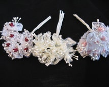 Lace Stamens Flowers Corsage Supplies Small Flowers Pick Miniature Fabric Bunches Artificial Flowers