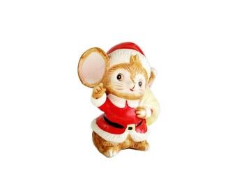 Vintage Christmas Mouse Homco 5405 Santa Mouse Figurine
