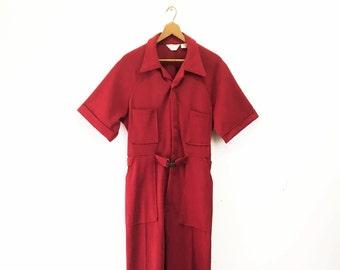 1970s Men's APOLLO Jump Suit Disco Era Vintage Red Men's One piece textured Polyester Jumpsuit - Size SMALL