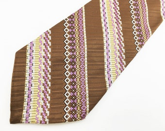 1970s WIDE Disco Era Tie Men's Vintage Brown 100% Imported Texturized Polyester Striped Woven Necktie