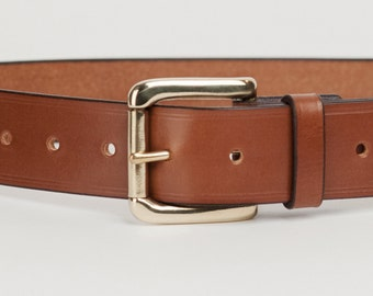 Mid Brown Bridle Leather Belt with 1.5 inch Roller Buckle