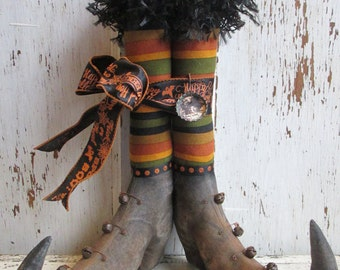 "Primitive Halloween Witch Boots~ 12"" tall w/Fall Striped Fabric Stockings~ HAFAIR"
