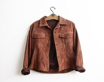 Vintage Brown Suede Jacket 1970s Boho Aged Leather Jacket Small Slim Fit