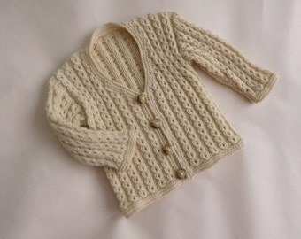 Cream baby cardigan, handknit sweater for boy or girl 3 to 6 months, neutral sweater